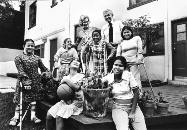 This photo, taken back in 1978, shows Dorothy and Bob DeBolt with some of the kids they adopted. It speaks for itself. LATimes photo.