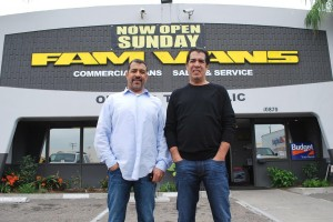 Aziz, in white, and Mike Malvey in front of the business they created from scratch--the biggest commercial vehicle business in this great big section of California. Younger brother Fred couldn.t make it for the photo unfortunately.