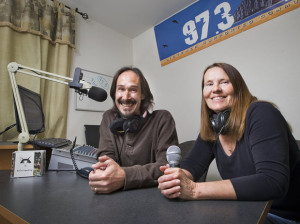 Partners in everything--Hal and his wife Judy broadcasting together on 97.3 FM Morro Bay, The Rock.