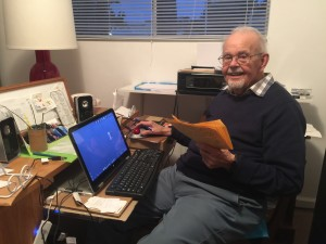 My grandson Thomas, visiting from Florida, did his best to show me at my best. Hah! I'm in my office in my mobile home at Morro Palms here in Morro Bay.