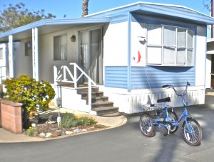 My nice, little new home! I never, never th0ught I'd live in a mobile home. Life is strange, isn't it? Now I thank my lucky star. And that's my trike!