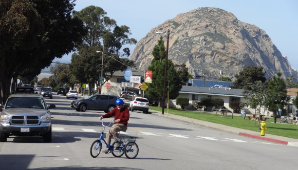 Returning home after a nice ride.  That's The Rock, our famous old volcano. Way down behind me is a bit of our beautiful harbor.