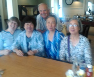 The two with three of our five Chinese ladies. No English but their smiles told us a lot.